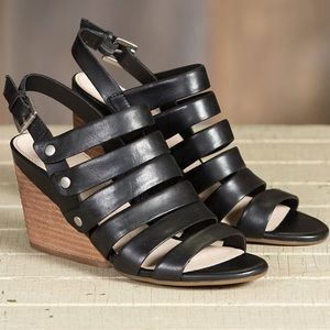 Black Buttee Soft  Leather Strappy Wedge Sandal